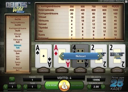 Deuces wild double up videopokeri