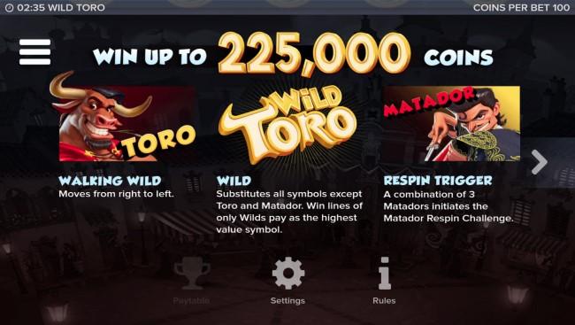 Wild Toro kolikkopeli